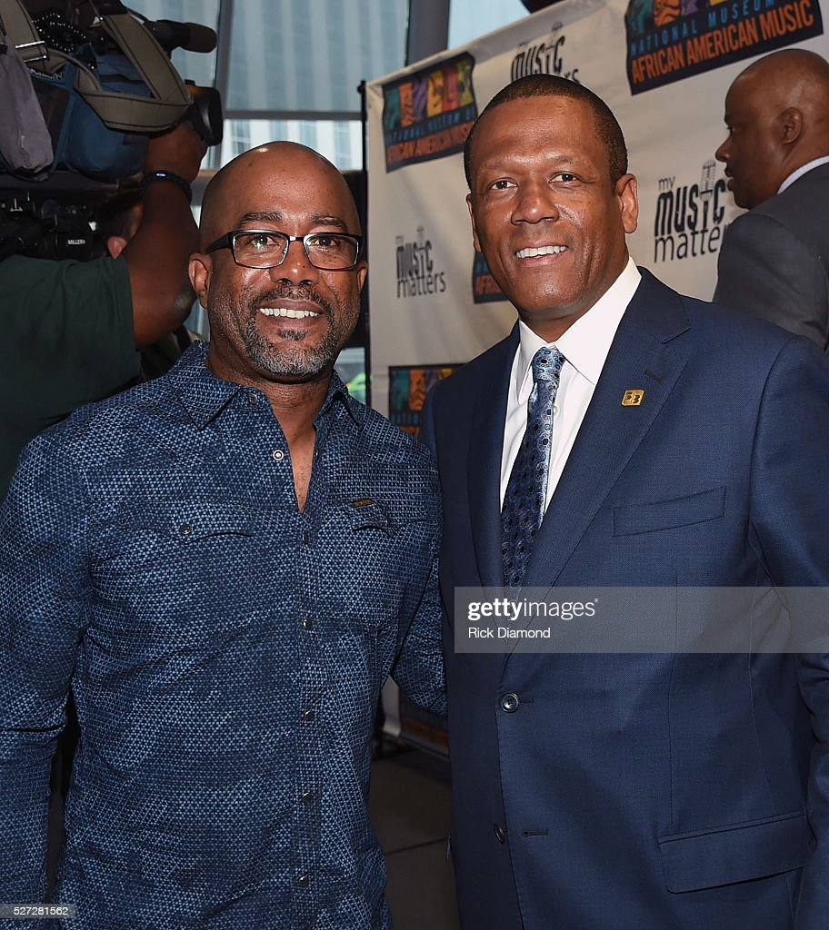 Singer/Songwriter and NMAAM National Chairperson Darius Rucker and Kevin P. Lavender NMAAM Board/Fifth Third Bank attend NMAAM National Chairs And Fundraising Progress Press Confrence at Nashville Vistor Center on May 2, 2016 in Nashville, Tennessee.