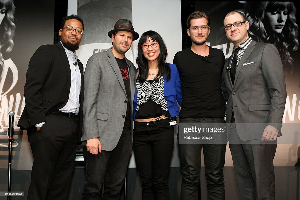 Singer/songwriter and producer Om'Mas Keith, owner of The Roxy Theatre Nic Adler, VP of Digital Marketing for Roc Nation Dorothy Hui, founder of SoundCloud Alexander Ljung and Editorial Director of Billboard and moderator Bill Werde at the Start Up Village/Social Media Summit at The Conga Room at LA Live on February 8, 2013 in Los Angeles, California.