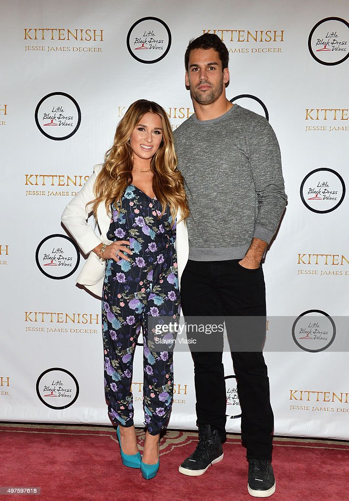 Singer/songwriter and TV personality Jessie James Decker and husband New York Jets' wide receiver <a gi-track='captionPersonalityLinkClicked' href=/galleries/search?phrase=Eric+Decker&family=editorial&specificpeople=3950667 ng-click='$event.stopPropagation()'>Eric Decker</a> attend the launch of her clothing brand 'Kittenish' at Gramercy Park Hotel on November 17, 2015 in New York City.
