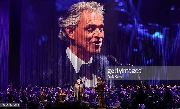 Singersongwriter Andrea Bocelli and conductor Eugene Kohn perform in concert at the Frank Erwin Center on December 8 2016 in Austin Texas