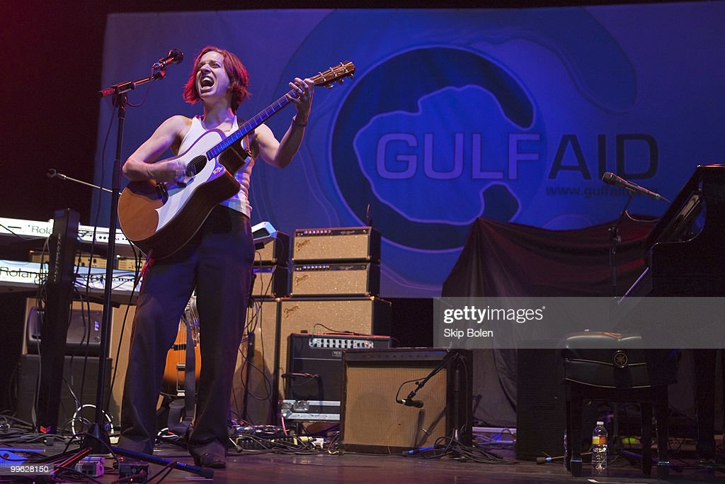 Singer/songwriter Ani DiFranco performs at the GULF AID benefit concert at Mardi Gras World River City on May 16, 2010 in New Orleans, Louisiana.