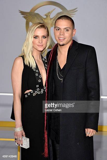 Singer/songwriter Ashlee Simpson and actor Evan Ross attend 'The Hunger Games Mockingjay Part 1' Los Angeles Premiere at Nokia Theatre LA Live on...