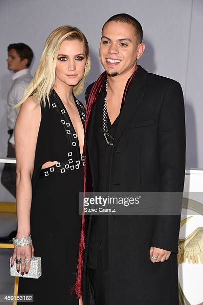 Singer/songwriter Ashlee Simpson and actor Evan Ross attend the premiere of 'The Hunger Games Mockingjay Part 1' at Nokia Theatre LA Live on November...