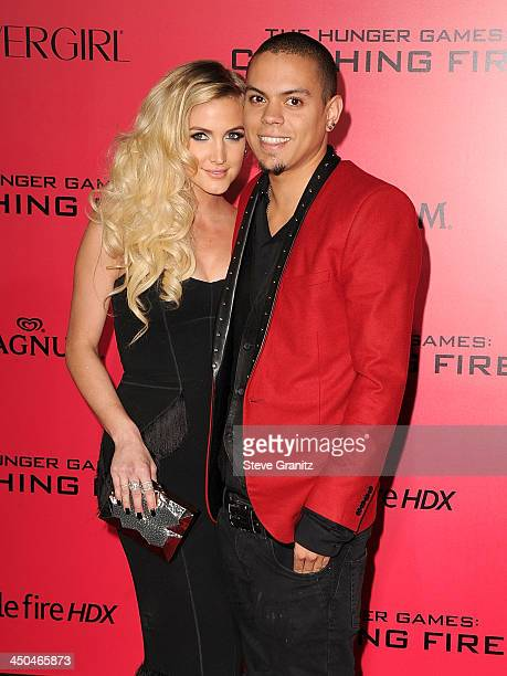 Singer/songwriter Ashlee Simpson and Evan Ross arrive at the Los Angeles premiere of 'The Hunger Games Catching Fire' at Nokia Theatre LA Live on...