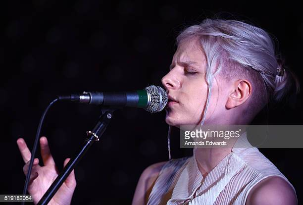 Singer/songwriter Aurora performs a private concert at The WaterMarke Tower on April 4 2016 in Los Angeles California