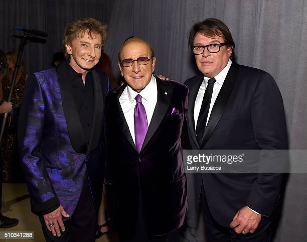 Singersongwriter Barry Manilow host Clive Davis and Garry Kief attend the 2016 PreGRAMMY Gala and Salute to Industry Icons honoring Irving Azoff at...
