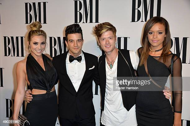 Singersongwriter BC Jean professional dancer Mark Ballas musician Nash Overstreet and singer Aubrey Cleland attend the 62nd annual BMI Pop Awards at...