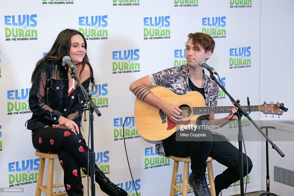 Singer/songwriter Bea Miller (L) performs during her visit to the visits 'The Elvis Duran Z100 Morning Show' at Z100 Studio on August 18, 2017 in New York City.