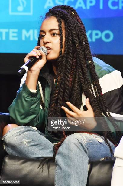 Singersongwriter Bibi Bourelly speaks onstage at 'Word Up Turning Lyrics Into Hits' during the 2017 ASCAP 'I Create Music' EXPO on April 15 2017 in...