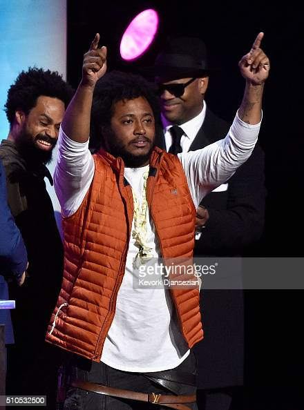 Singersongwriter Bilal musican Thundercat and producer Jimmy Jam onstage during the GRAMMY PreTelecast at The 58th GRAMMY Awards at Microsoft Theater...