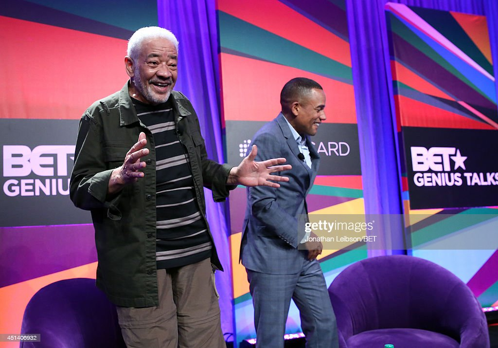 Singersongwriter Bill Withers and actor Hill Harper speak onstage at the Genius Talks presented by RushCard at the 2014 BET Experience at LA LIVE on...