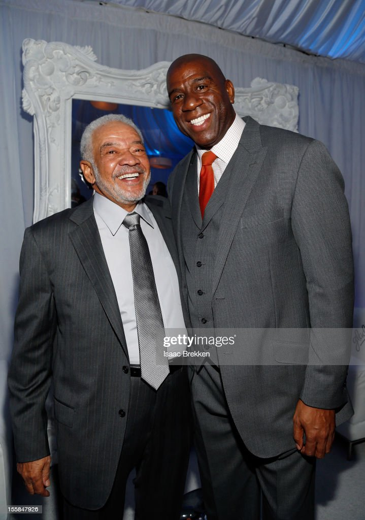 Singer/songwriter <a gi-track='captionPersonalityLinkClicked' href=/galleries/search?phrase=Bill+Withers&family=editorial&specificpeople=782538 ng-click='$event.stopPropagation()'>Bill Withers</a> (L) former NBA player Earvin 'Magic' Johnson arrive at the Glade Suite at the Soul Train Awards 2012 at PH Live at Planet Hollywood Resort & Casino on November 8, 2012 in Las Vegas, Nevada.