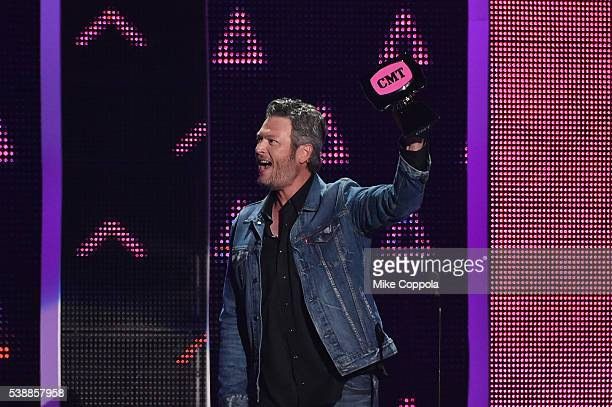 Singersongwriter Blake Shelton performs onstage during the 2016 CMT Music awards at the Bridgestone Arena on June 8 2016 in Nashville Tennessee