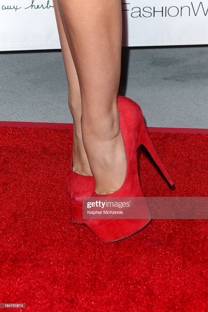 Singer/Songwriter <a gi-track='captionPersonalityLinkClicked' href=/galleries/search?phrase=Bonnie+McKee&family=editorial&specificpeople=240200 ng-click='$event.stopPropagation()'>Bonnie McKee</a> (shoe detail) arrives to Day By Day Clothing Spring 2014 Collection Fashion Show at L.A. Live Event Deck on October 15, 2013 in Los Angeles, California.