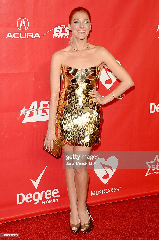 Singersongwriter Bonnie McKee attends The 2014 MusiCares Person Of The Year Gala Honoring Carole King at Los Angeles Convention Center on January 24...