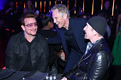 Singersongwriter Bono iHeartMedia's President of Entertainment Enterprises John Sykes and singersongwriter The Edge attend the iHeartRadio Music...