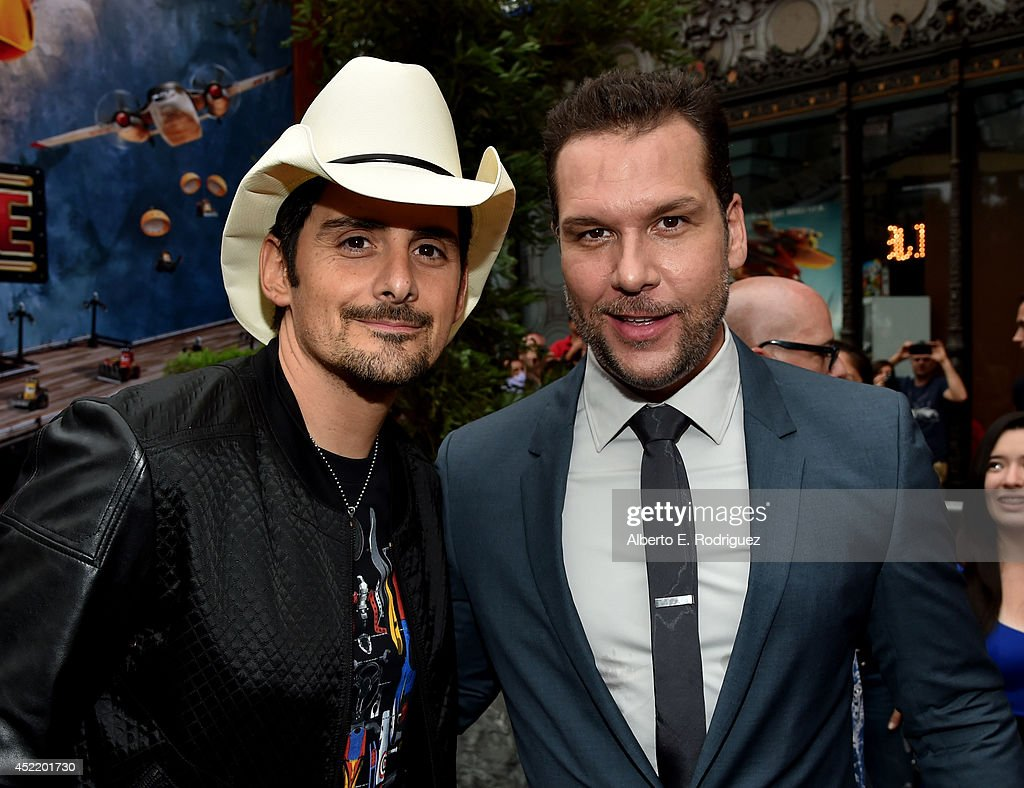 Singer/songwriter <a gi-track='captionPersonalityLinkClicked' href=/galleries/search?phrase=Brad+Paisley&family=editorial&specificpeople=206616 ng-click='$event.stopPropagation()'>Brad Paisley</a> and actor <a gi-track='captionPersonalityLinkClicked' href=/galleries/search?phrase=Dane+Cook&family=editorial&specificpeople=224026 ng-click='$event.stopPropagation()'>Dane Cook</a> attend World Premiere Of Disney's 'Planes: Fire & Rescue' at the El Capitan Theatre on July 15, 2014 in Hollywood, California.