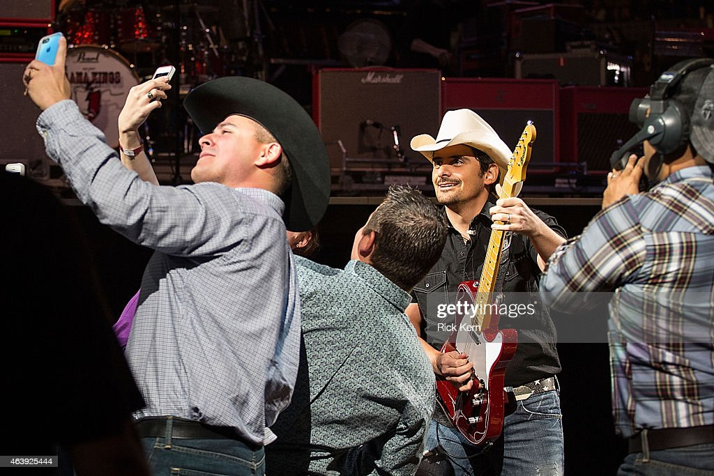 Singersongwriter Brad Paisley performs in concert as part of the San Antonio Stock Show Rodeo at the ATT Center on February 19 2015 in San Antonio...