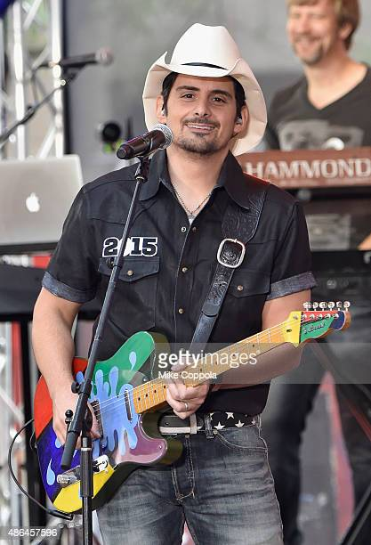 Singer/songwriter Brad Paisley performs on NBC's 'Today' at Rockefeller Plaza on September 4 2015 in New York City