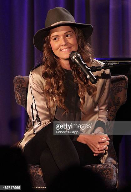 Singer/songwriter Brandi Carlile speaks onstage at An Evening With Brandi Carlile at on September 23 2015 in Los Angeles California