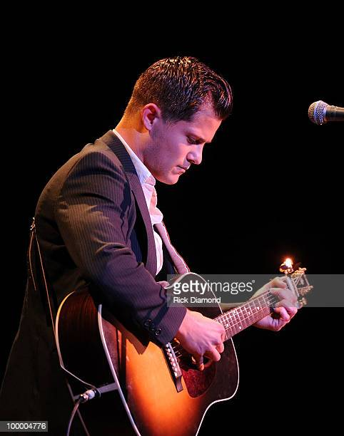 Singer/Songwriter Brandon Young performs during the 'Music Saves Mountains' benefit concert at the Ryman Auditorium on May 19 2010 in Nashville...