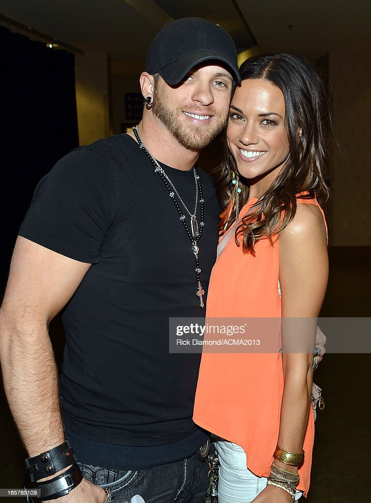 Singer/Songwriter Brantley Gilbert and girlfriend Singer/actress Jana Kramer backstage at the ACM Party For A Cause Festival during the 48th Annual Academy of Country Music Awards at the Orleans Arena on April 5, 2013 in Las Vegas, Nevada.