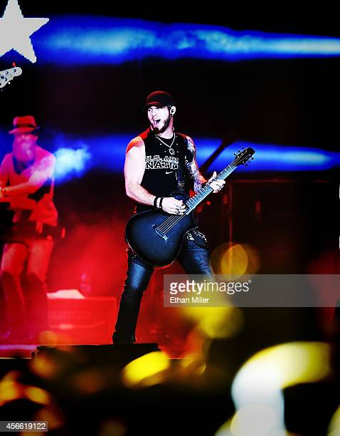 Singer/songwriter Brantley Gilbert performs during the Route 91 Harvest country music festival at the MGM Resorts Village on October 3 2014 in Las...