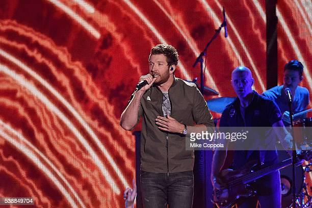 Singersongwriter Brett Eldredge onstage during the 2016 CMT Music awards at the Bridgestone Arena on June 8 2016 in Nashville Tennessee