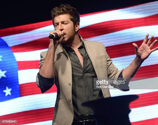 Singer/Songwriter Brett Eldredge performes during the 2014 CRS on February 19 2014 at the Nashville Convention Center in Nashville Tennessee