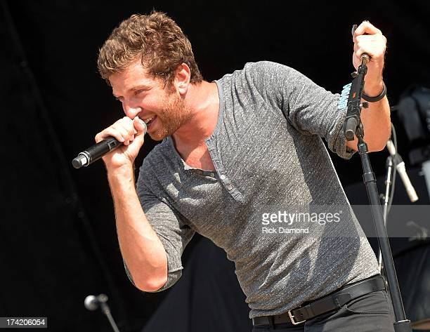 Singer/Songwriter Brett Eldredge performs at Country Thunder Twin Lakes Wisconsin Day 4 on July 21 2013 in Twin Lakes Wisconsin
