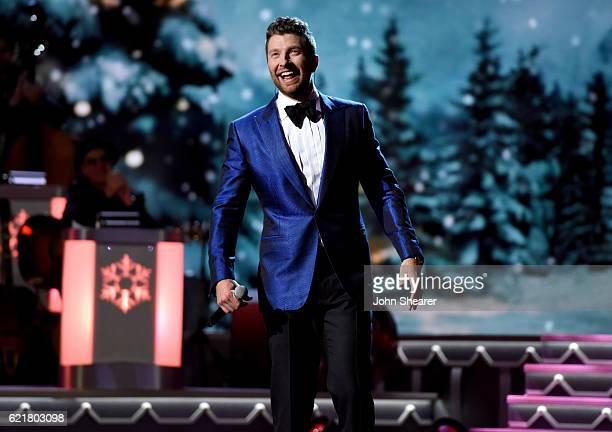 Singersongwriter Brett Eldredge performs on stage during the CMA 2016 Country Christmas on November 8 2016 in Nashville Tennessee