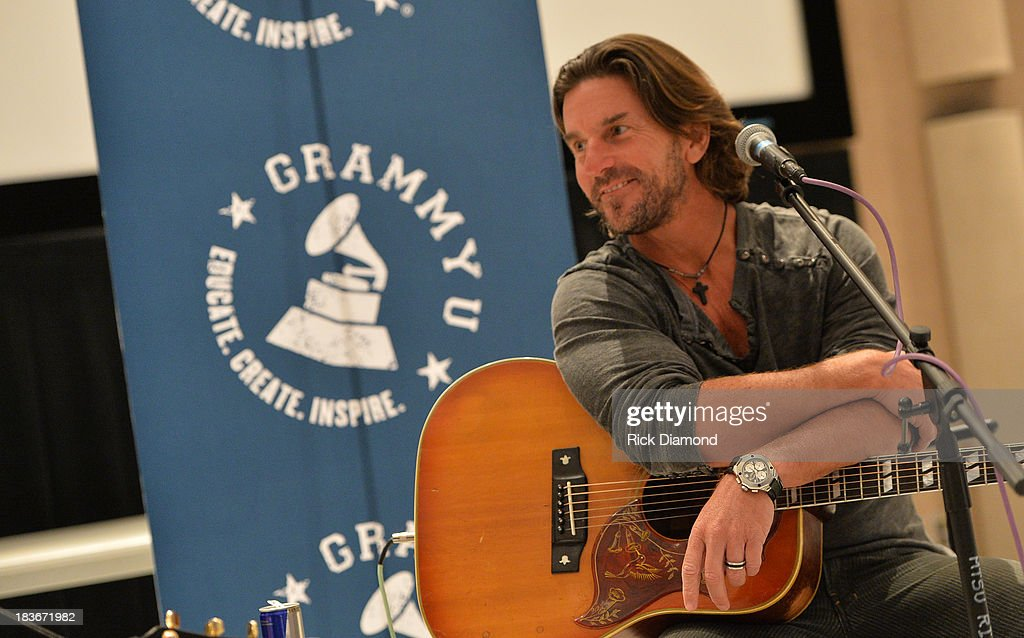 Singer/Songwriter Brett James at GRAMMY U Fall Kick-Off with Kip Moore and Brett James at MTSU on October 8, 2013 in Murfreesboro, Tennessee.