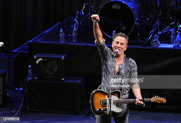 Singer/songwriter Bruce Springsteen performs during the 2012 Light of Day Concert Series 'New Jersey' at the Paramount Theatre on January 14 2012 in...