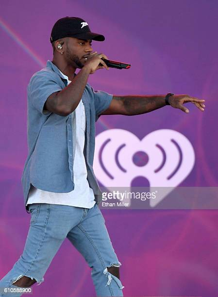 Singer/songwriter Bryson Tiller performs during the 2016 Daytime Village at the iHeartRadio Music Festival at the Las Vegas Village on September 24...