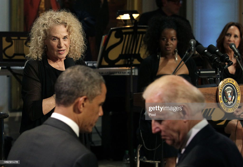 Singer-songwriter <a gi-track='captionPersonalityLinkClicked' href=/galleries/search?phrase=Carole+King+-+Musician&family=editorial&specificpeople=211440 ng-click='$event.stopPropagation()'>Carole King</a> speaks after being awarded by U.S. President <a gi-track='captionPersonalityLinkClicked' href=/galleries/search?phrase=Barack+Obama&family=editorial&specificpeople=203260 ng-click='$event.stopPropagation()'>Barack Obama</a> the 2013 Library of Congress Gershwin Prize for Popular Song at the White House on May 22, 2013 in Washington, DC. The Gershwin Prize for Popular Song recognizes artists for lifetime achievements in musical expression.