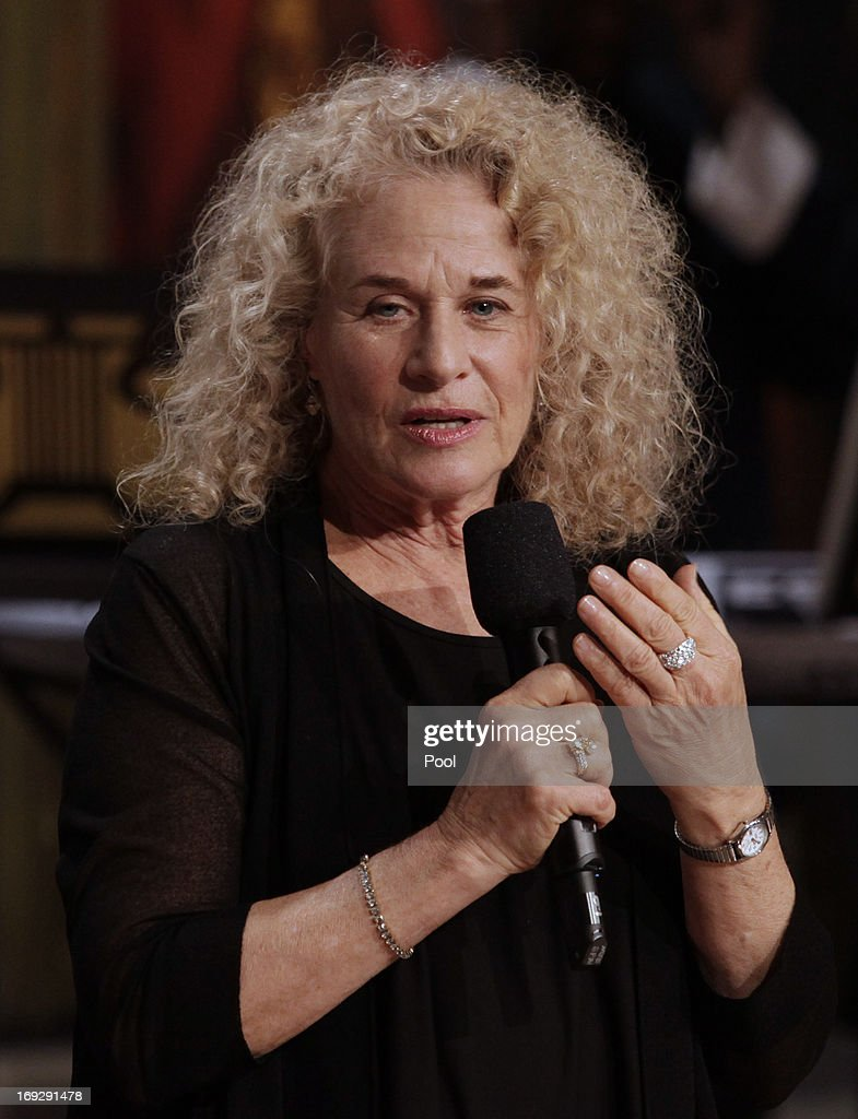 Singer-songwriter Carole King speaks after being awarded by U.S. President Barack Obama the 2013 Library of Congress Gershwin Prize for Popular Song at the White House on May 22, 2013 in Washington, DC. The Gershwin Prize for Popular Song recognizes artists for lifetime achievements in musical expression.