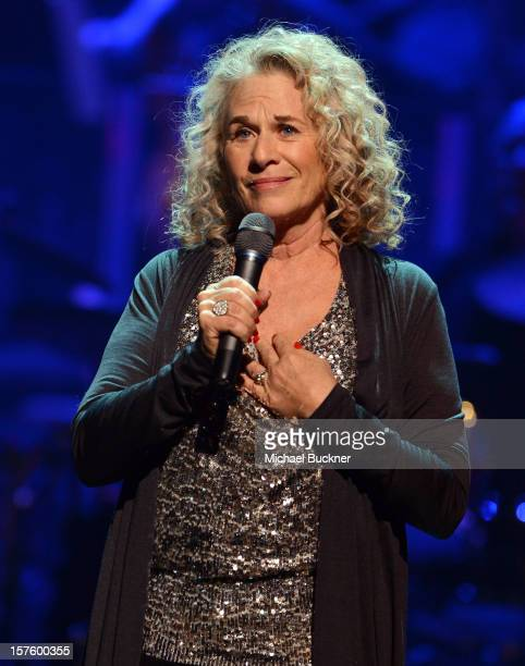 Singer/songwriter Carole King speaks during a celebration of Carole King and her music to benefit Paul Newman's The Painted Turtle Camp at the Dolby...