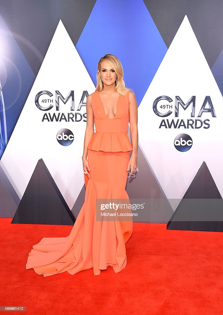 Singer-songwriter <a gi-track='captionPersonalityLinkClicked' href=/galleries/search?phrase=Carrie+Underwood&family=editorial&specificpeople=204483 ng-click='$event.stopPropagation()'>Carrie Underwood</a> attends the 49th annual CMA Awards at the Bridgestone Arena on November 4, 2015 in Nashville, Tennessee.