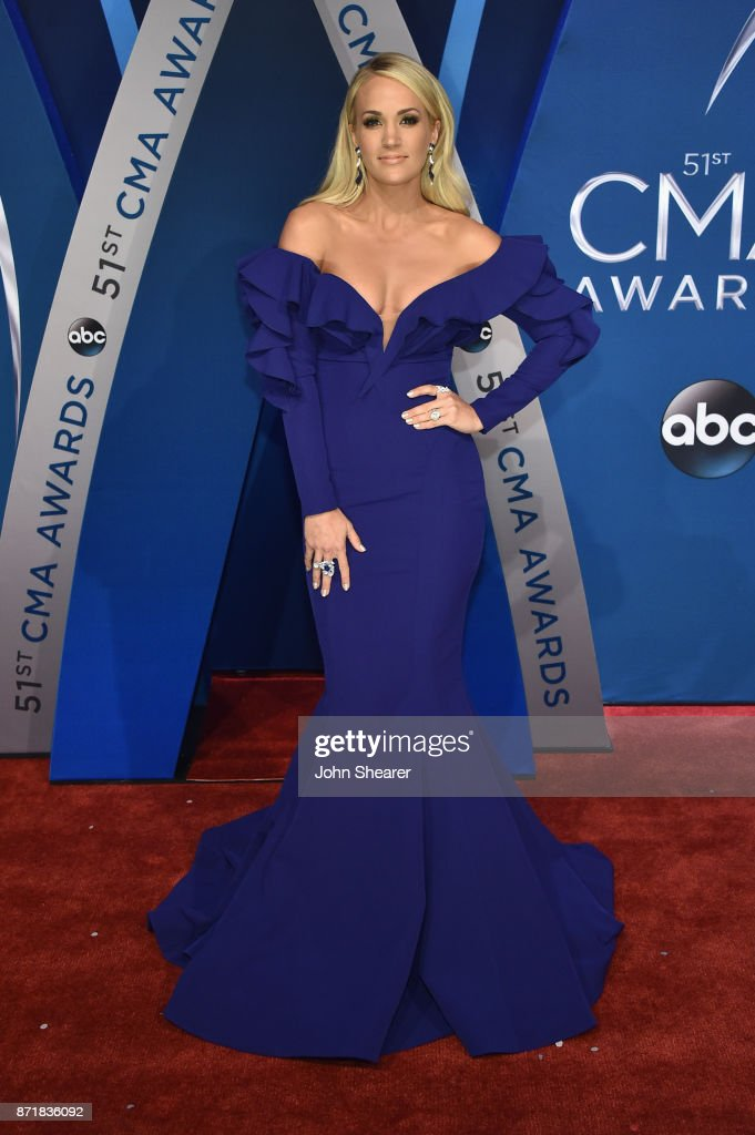 Singer-songwriter Carrie Underwood attends the 51st annual CMA Awards at the Bridgestone Arena on November 8, 2017 in Nashville, Tennessee.