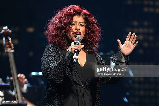 Singer/songwriter Chaka Khan performs onstage at the 2014 Thelonious Monk International Jazz Trumpet Competition at Dolby Theatre on November 9 2014...