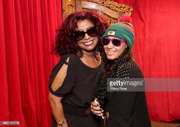 Singer/songwriter Chaka Khan wearing Marc by Marc Jacobs sunglasses and Daija Jade Holland wearing Polaroid sunglasses with the Solstice Sunglasses...