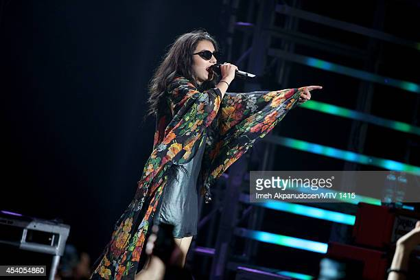 Singer/songwriter Charli XCX performs onstage during a VMA Artist To Watch concert featuring Charli XCX Bleachers And White Arrows presented by Taco...