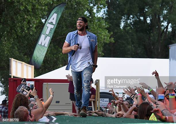 Singer/Songwriter Chase Rice performs at Kicker Country Stampede Manhattan Kansas Day 3 on June 25 2016 in Manhattan Kansas