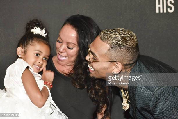 Singersongwriter Chris Brown mother Joyce Hawkins and daughter Royalty Brown attend the premiere of 'Chris Brown Welcome to My Life' at Regal LA Live...