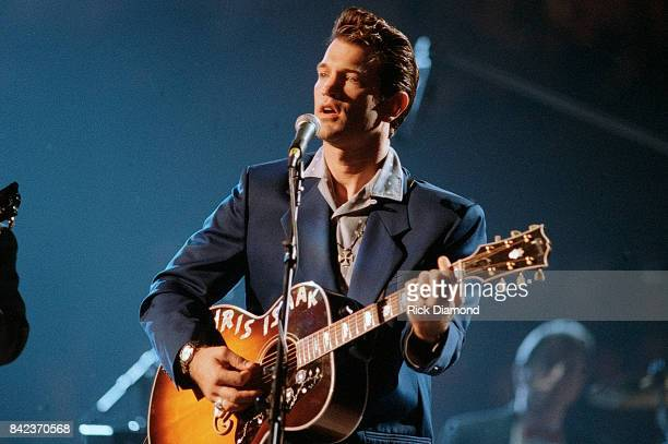 Singer/Songwriter Chris Isaak performs during Elvis The Tribute at The Pyramid Arena in Memphis Tennessee October 08 1994