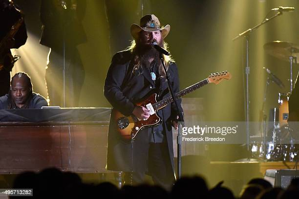 Singersongwriter Chris Stapleton performs onstage with Recording artist Justin Timberlake at the 49th annual CMA Awards at the Bridgestone Arena on...