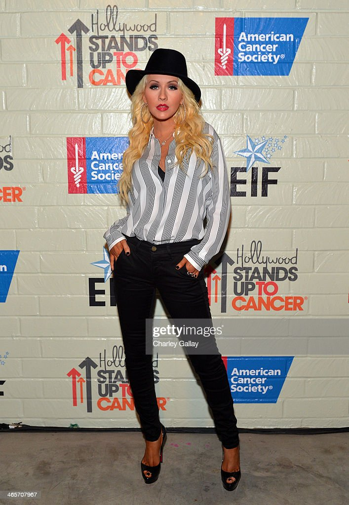 Singer/songwriter Christina Aguilera attends Hollywood Stands Up To Cancer Event with contributors American Cancer Society and Bristol Myers Squibb...