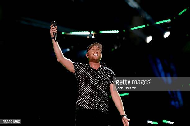 Singersongwriter Cole Swindell performs onstage during 2016 CMA Festival Day 3 at Nissan Stadium on June 11 2016 in Nashville Tennessee