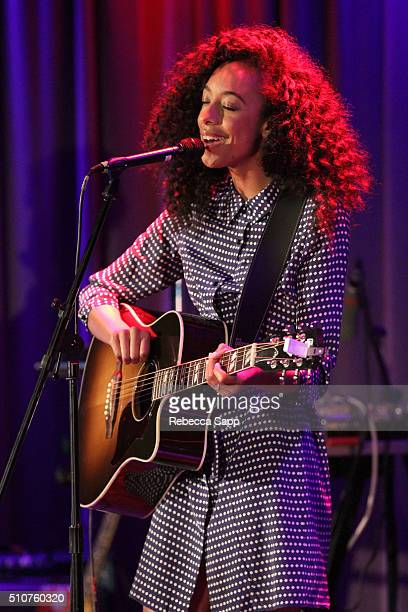 Singer/songwriter Corinne Bailey Rae performs at AUDIBLE IMPACT Music Activism Hosted By Tig Notaro at The GRAMMY Museum on February 16 2016 in Los...