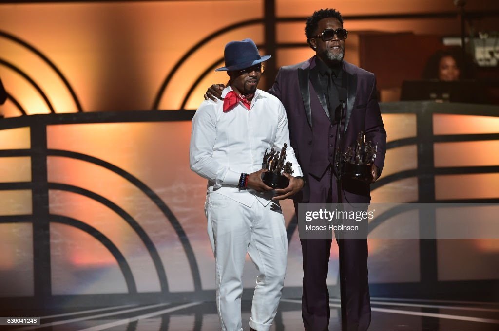 Singer-songwriter Damion Hall (R) and Teddy Riley (L) of Guy accept an award onstage at the 2017 Black Music Honors at Tennessee Performing Arts Center on August 18, 2017 in Nashville, Tennessee.